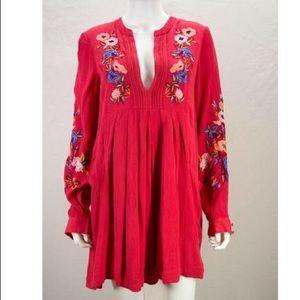 Free People Mia Linen Long Sleeve Dress - Large